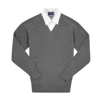 V-Neck Cotton Blend Pullover